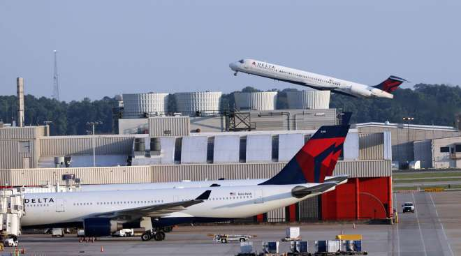 Delta Air Lines planes are seen at Dulles International Airport on June 1.