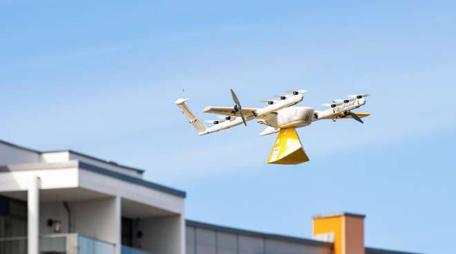 One of Alphabet's Wing drones is photographed in a pilot program in Finland. (Wing)