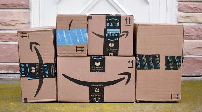 Stacked Amazon Prime boxes.