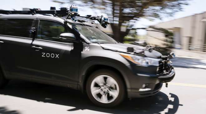 A Zoox self-driving car is operated outside the company's headquarters in California on May 27.
