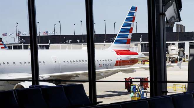 An American Airlines plan at O'Hare International Airport in Chicago