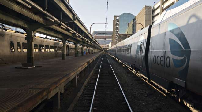 An Amtrak Acela train sits on tracks at Union Station in Washington, D.C., in January 2019.