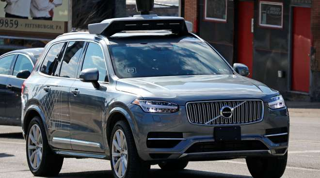 An autonomous Volvo used by Uber