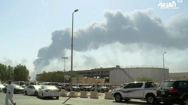 Smoke from a fire at the Abqaiq oil processing facility