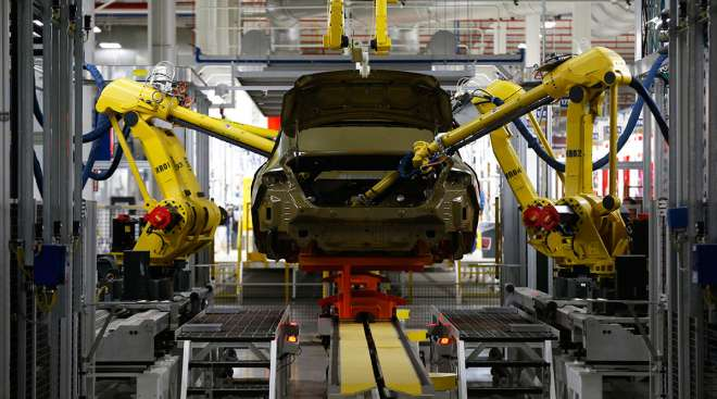 Automated robots at the Sterling Heights Assembly Plant in Sterling Heights, Mich.