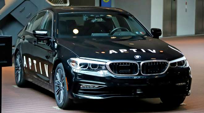 Autonomous BMW under development by Aptiv in Pittsburgh on display in  March