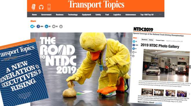 Top 100 For-Hire cover, Road to NTDC landing page and NTDC photo gallery