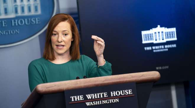 Jen Psaki, White House press secretary, speaks during a news conference on Jan. 25. (Kevin Dietsch/Bloomberg News)