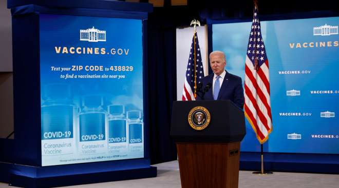 President Joe Biden speaks about the COVID-19 vaccination program at the Eisenhower Executive Office Building.