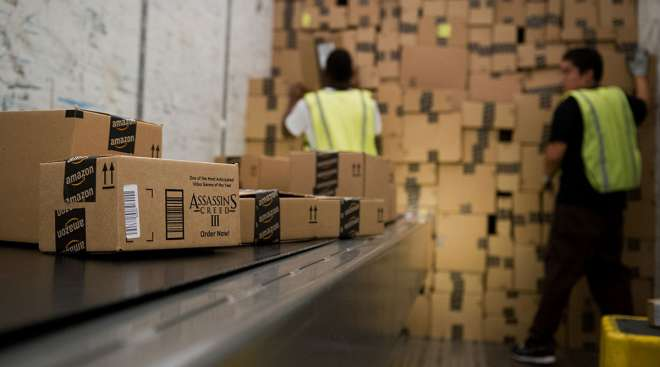 Loading packages at an Amazon facility