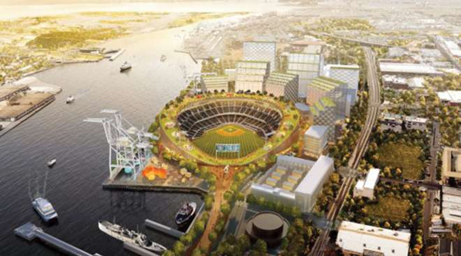 Rendering of proposed ballpark at Port of Oakland
