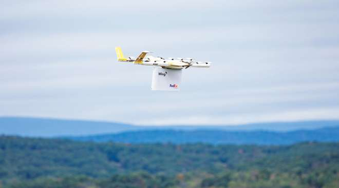 FedEx drone delivery in partnership with Alphabet's Wing.
