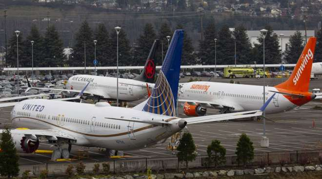 Grounded Boeing 737 Max planes are seen in a lot in Seattle in December 2019.