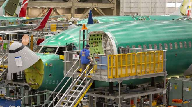 A Boeing 737 Max airplane sits on the production line at the company's manufacturing facility in Renton, Wash., in March 2019.