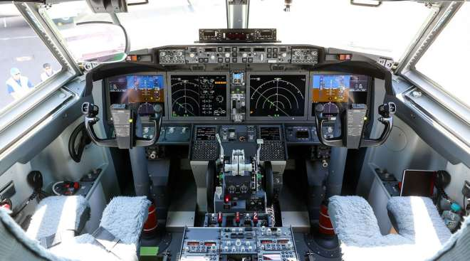 Instruments and controls sit in the cockpit of a Boeing 737 Max jetliner.