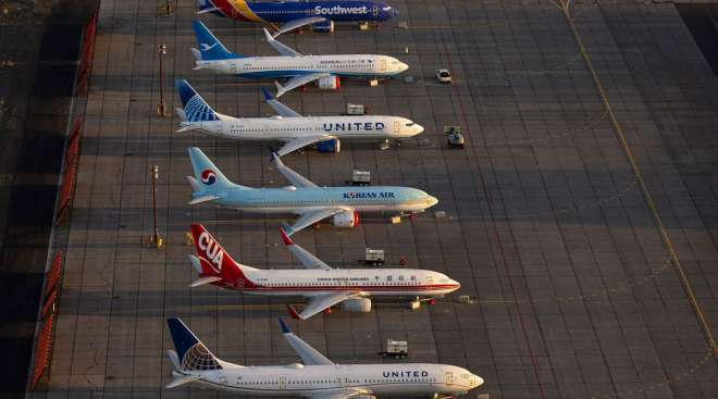 Boeing 737 Max airplanes are parked at Grant County International Airport in Washington in 2019.