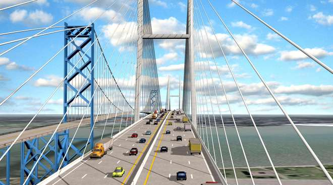 Artistic rendering of Ambassador Bridge with new span