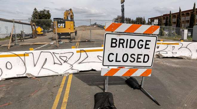 A 'Bridge Closed' sign on Springs Road in Vallejo, Calif., in March. (Bloomberg News)