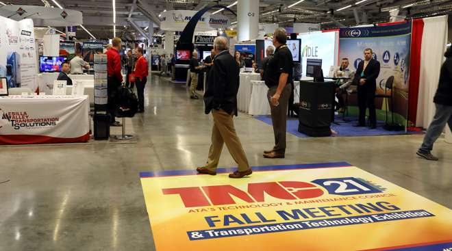 The entrance to the exhibit hall for TMC 2021