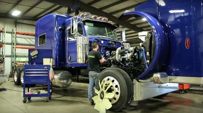 Installation of glider kit in a Peterbilt truck.