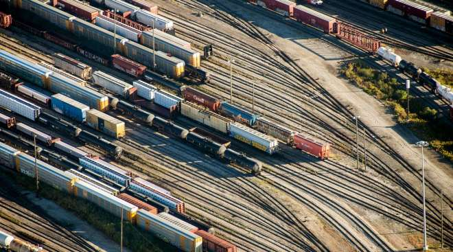 Freight trains and oil tankers sit in a rail yard in Toronto, Ontario.