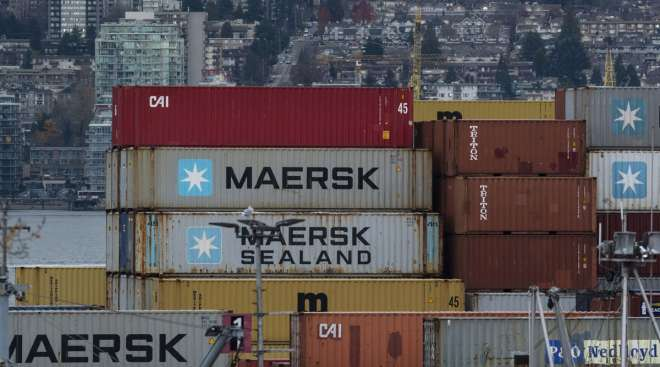 Containers sit at the Port of Vancouver in British Columbia, Canada, in November 2020. (Jennifer Gauthier/Bloomberg News)