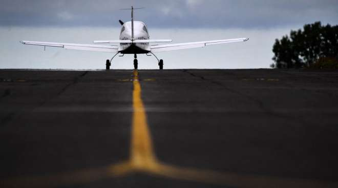 Pipistrel Velis Electro, first electric plane certified by European Union Aviation Safety, drives on the tarmac. (Fred Tanneau/AFP/Getty Images)