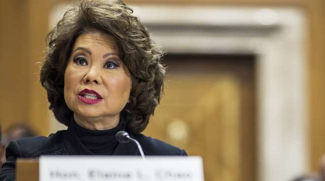 Elaine Chao testifying before a Senate panel