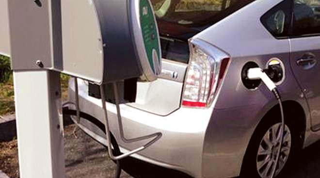 Electric vehicle chargers in New Greenfield, Mass., parking garage.