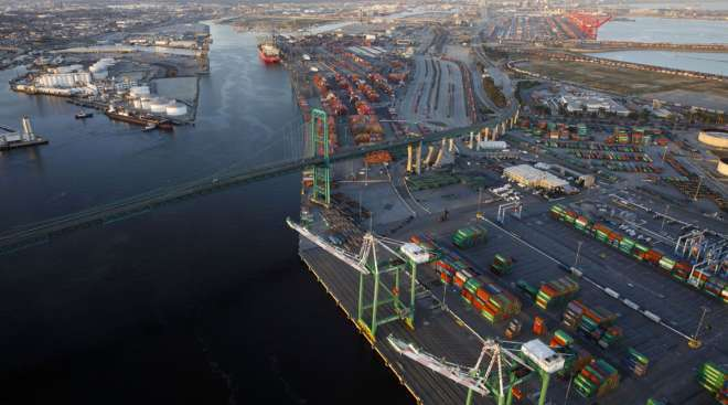 The Port of Los Angeles, as viewed from above.