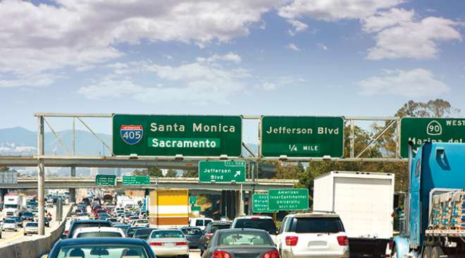 Road congestion on a California highway