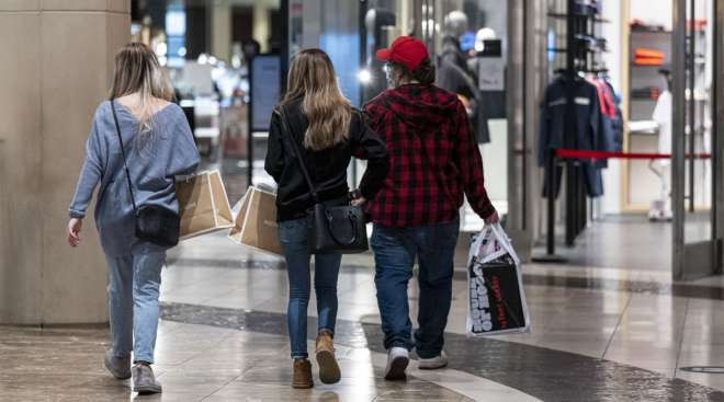 Shoppers walk inside the Westfield San Francisco Centre shopping mall on March 9. (David Paul Morris/Bloomberg News)