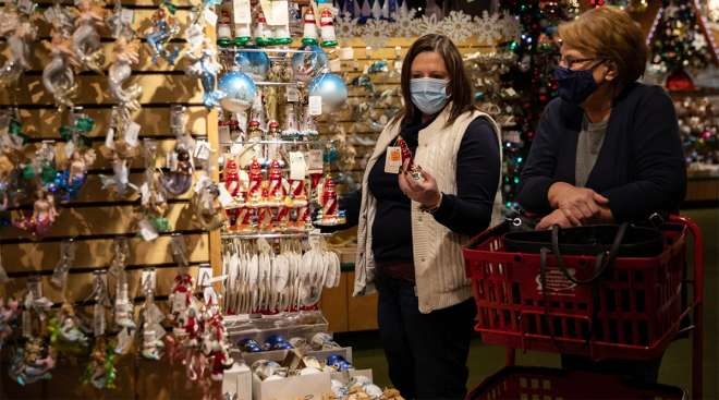 Customers shop for Christmas ornaments. (Emily Elconin/Bloomberg News)