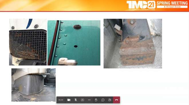 Examples of corrosion shown during task force session at the 2021 TMC Spring Meeting