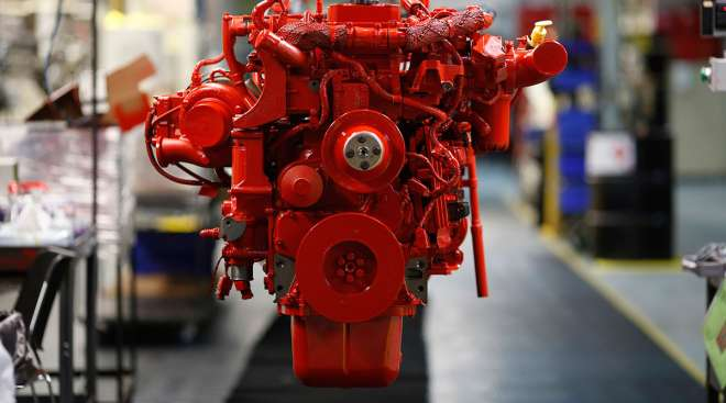 Engine on the line at a Cummins factory