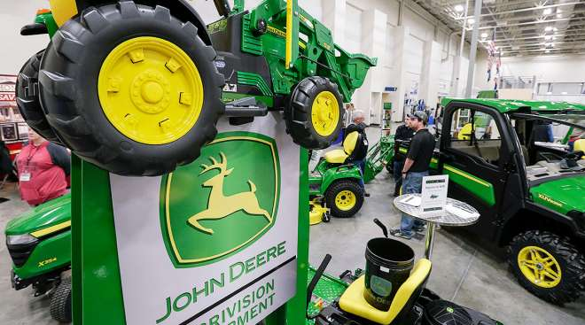 Deere products at a trade show