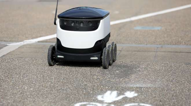 An autonomous parcel delivery robot, developed by Starship Technologies.
