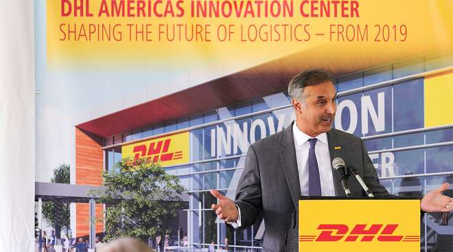 Mike Parra at DHL America's Innovation Center groundbreaking
