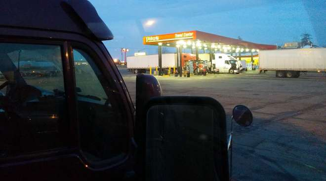 Truck at a Pilot fueling stop
