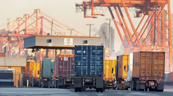Trucks sit at the gate leading in to the Port of Seattle. (Port of Seattle)