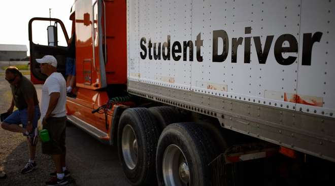 CDL students learning to drive