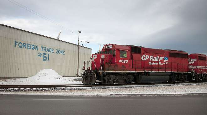 A Canadian Pacific Railway Ltd. train arrives at the Port of Duluth.