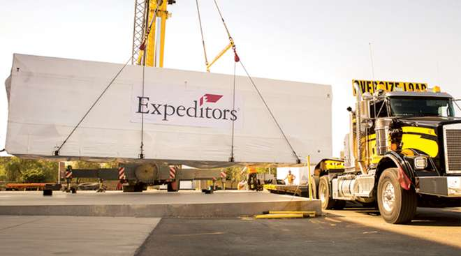 Oversize load with Expeditors signage