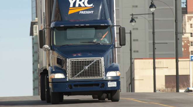 YRC Freight truck carrying a load