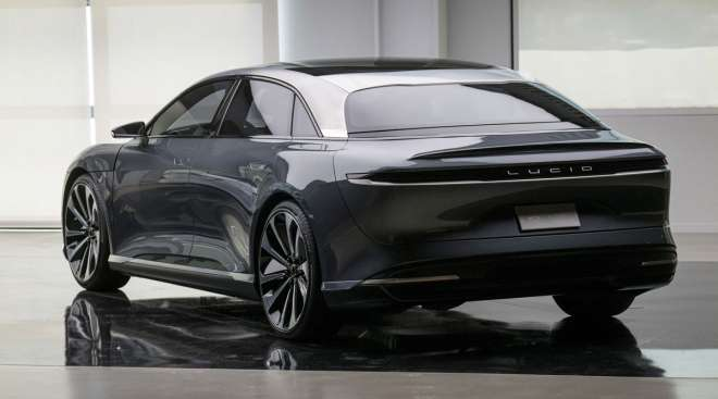 The Lucid Motors Air prototype electric vehicle stands at the company's headquarters in Newark, Calif.