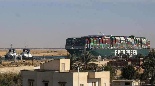 The Ever Given containership along the Suez Canal in March