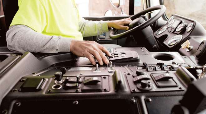 Driver on keypad for truck's Allison automatic transmission