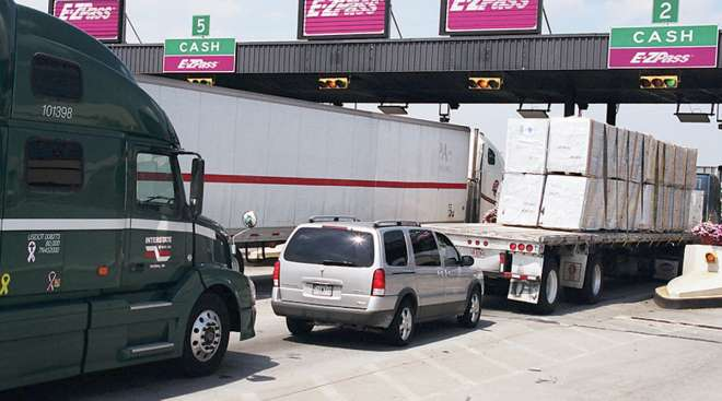 An EZ-Pass toll plaza on Interstate 95 in Maryland.