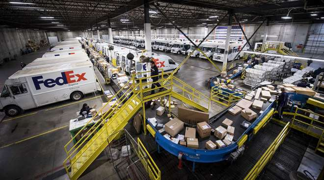 FedEx distribution center on Cyber Monday