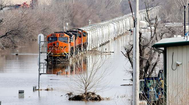 BNSF train in floodwaters in Plattsmouth, Neb.